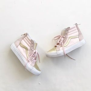 Vans metallic toe Sk8 hi zip up shoes VGUC size 3y